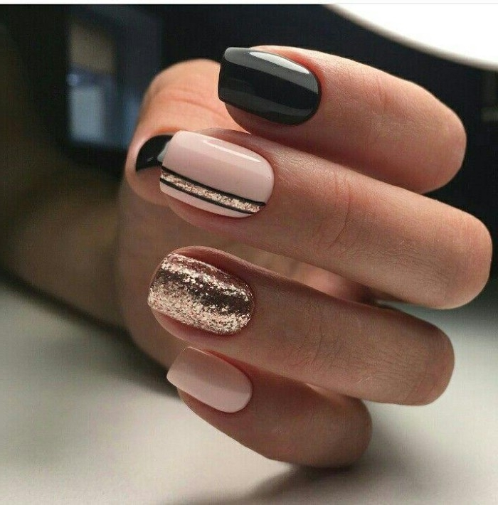 rose gold glitter, and black details, on a square manicure, in pale pastel pink, best nude nail polish, hand with folded fingers