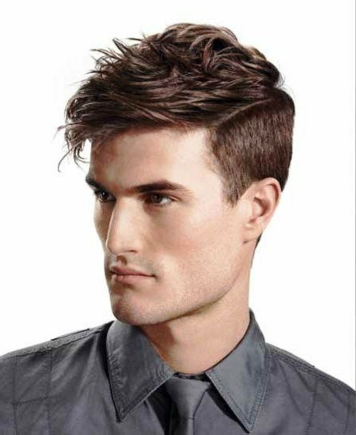 chocolate brown faux hawk, hair style man, on a guy wearing a grey shirt, with a matching grey tie