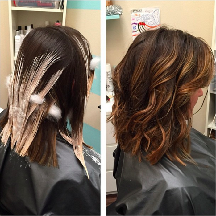 the process of creating balayage hair, wet shoulder length hair, half-covered in hair dye, next image shows the final resutl