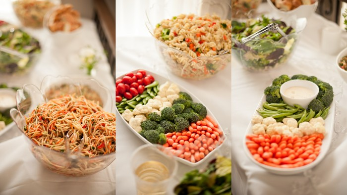 vegetarian hor d oeuvres ideas, noodle salad with carrots, a selection of fresh vegetables with dip, and others