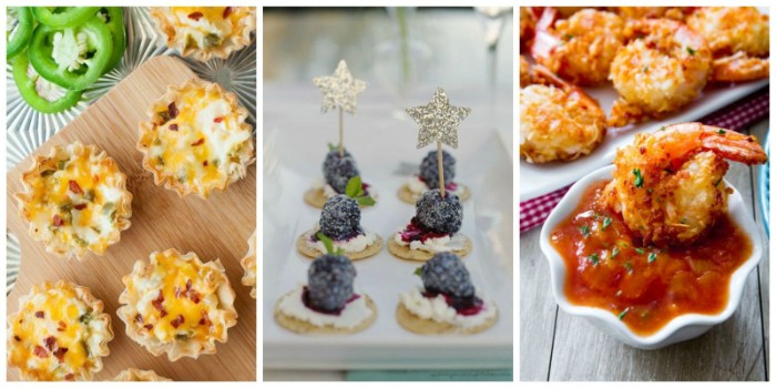 christmas horderves ideas, savory veggie tartlets, blueberry cheesecake on a cracker, sweet thai chili prawns