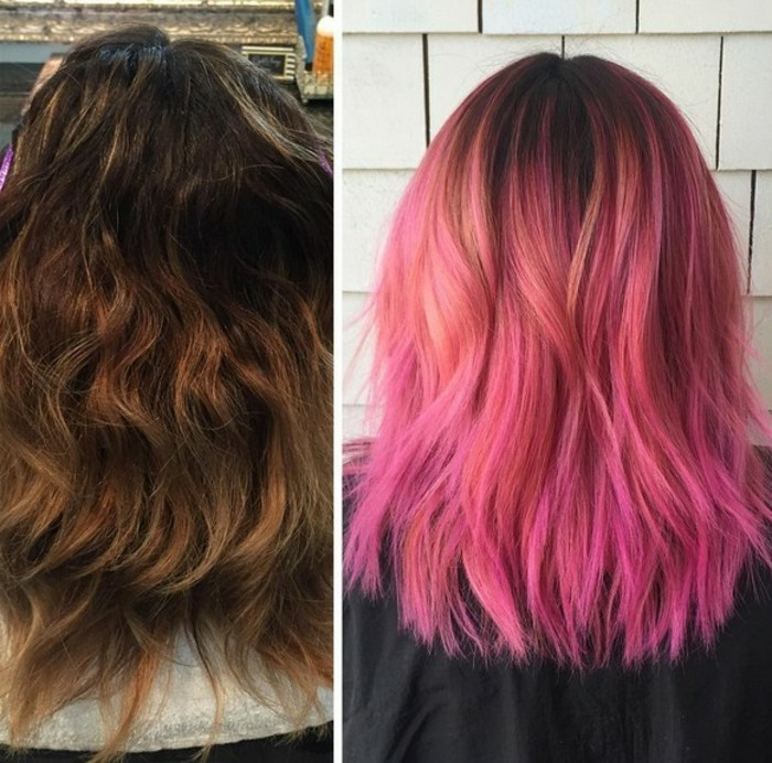 two side by side images, one showing messy, wavy brunette hair, the other smooth hair in two shades of pink, with dark roots, balayage brown hair, before and after