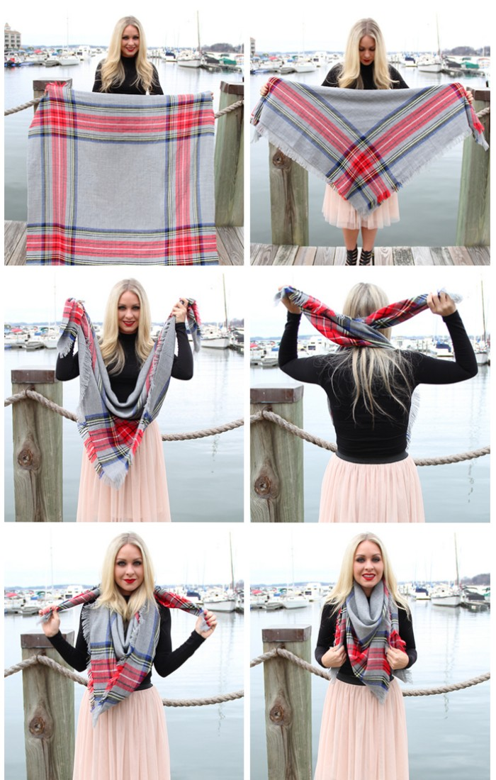 six step explanation with photos, on how to wear a square scarf, smiling blonde woman, in a powder pink tulle skirt, holding and folding a grey shawl, with red and blue stripes