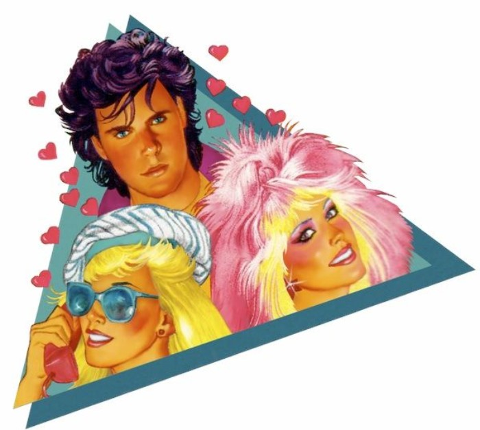 hair and make u,p 80s fashion trends, in an illustration for the 80s cartoon jem and the hollograms