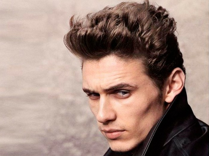 textured short styled up hair, worn by james franco, hair style man, in a black leather jacket, with upturned collar