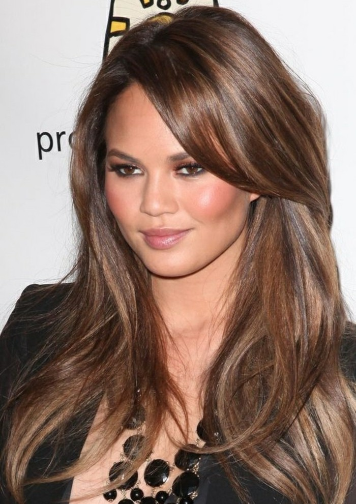chestnut borwn bayalage, worn by khloe kardashian, with long smooth, dark brunette hair, and side part