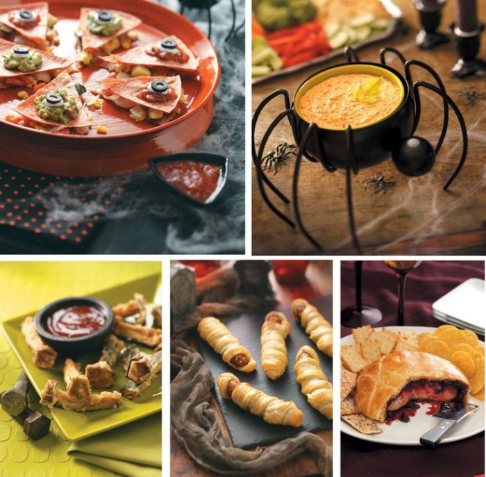 halloween appetizer ideas, crispy pizza snack, pumpkin soup in a spider-like dish, mummy pigs in a blanket, and others