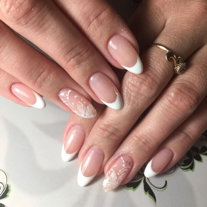 French Manicure Looks Great On Almond Shaped Nails Lana