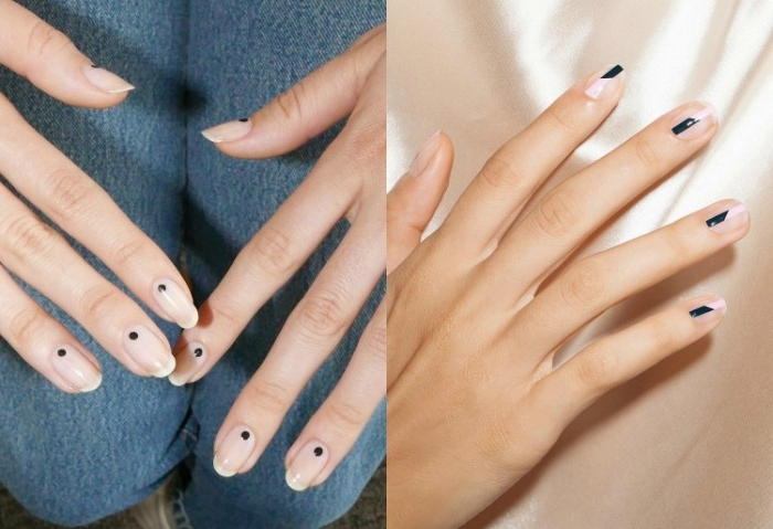 collage of two images, each showing different nude nails, one features black and white stripes, and the other black dots