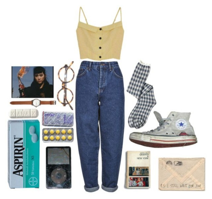 baggy high waisted mom jeans, and a pale yellow crop top, with button details, surrounded by various vintage accessories, worn converse sneakers, checkered socks and glasses, ipod and pills, simple 80s outfit