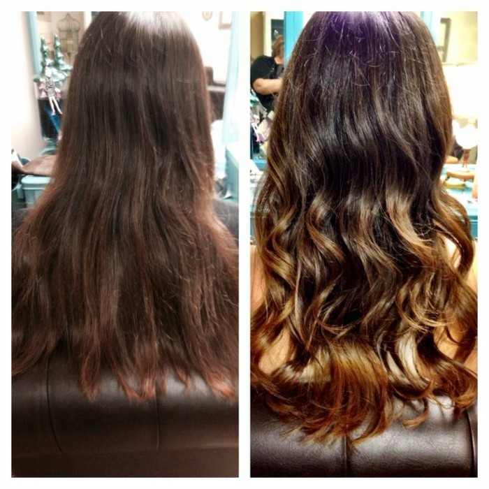 balayage brown hair, before and after photos, one showing long, tired-looking hair, and the other glossy hair with balayage, and curled ends