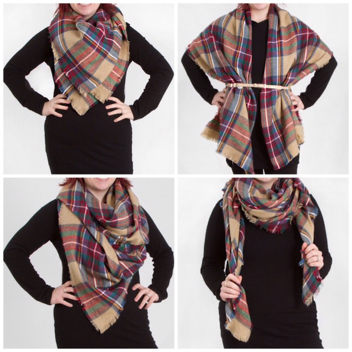 four ways of wrapping a plaid shawl, demonstrated by a woman, dressed in black, how to wear a blanket scarf properly