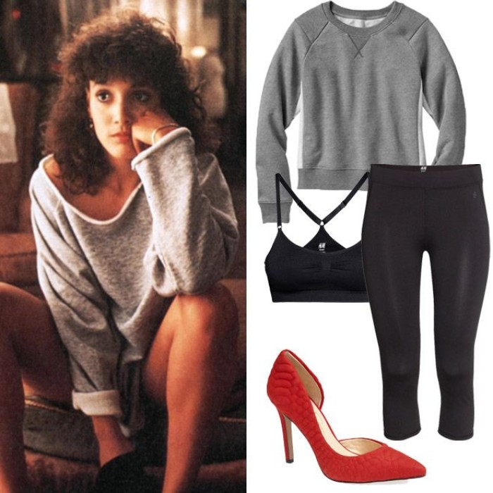 flashdance inspired halloween outfit, 3/4 black leggings, plain grey sweater, and red leather stilettos