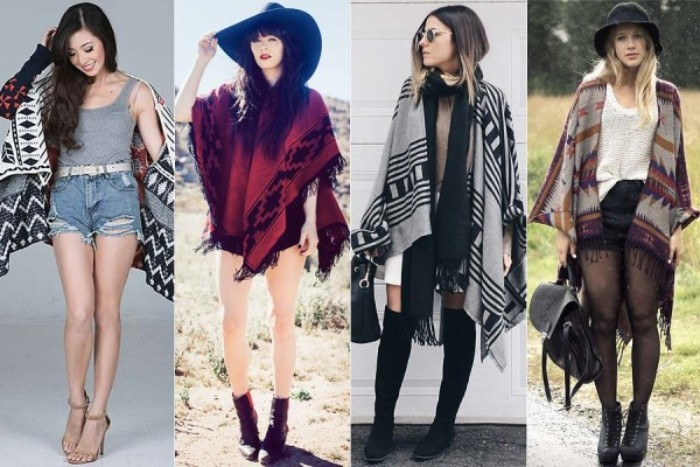 summer outfits with blanket scarves, on four slim women, wearing shorts and mini dresses, with patterned shawls around their shoulders