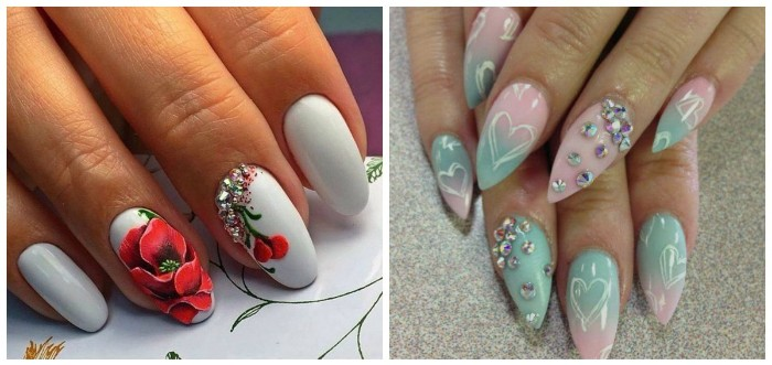 two example of almond-shaped manicure, oval nails in white, decorated with poppy drawings, and sharp nails in baby pink and blue, with rinestones and heart doodles