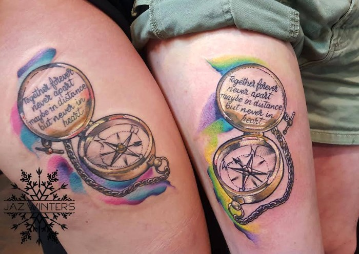 matching couple tattoos, realistic vintage compasses, with chains, done in full collor, and containing a romantic message
