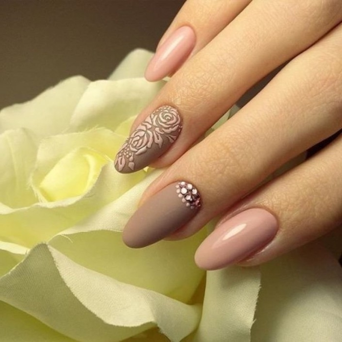 acrylic pink roses, on a brown matte nail polish, oval manicure in nude pink, and matte brown