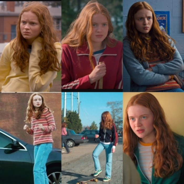 six images of sadie sink, in her role of mad max, in stranger things, dressed in 80s sports apparel or streetwear, jeans and tracksuit jackets