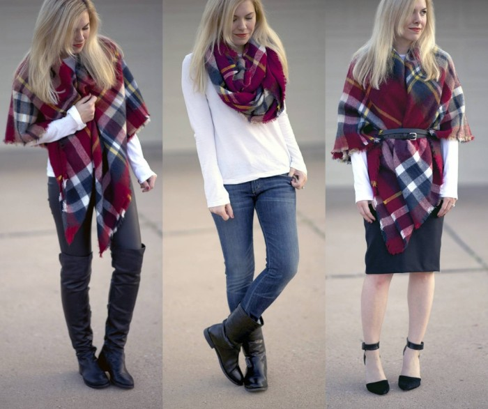 casual outfits with jeans, white jumpers and a plaid scarf, three suggestions demonstrated by a blonde woman, how to wear a square scarf, with over the knee boots and leggings, jeans and flat boots, skirt and high heels