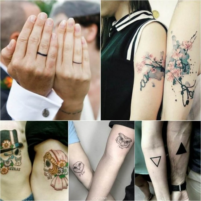 cherry blossoms and triangles, owls and skulls, and black wedding band finger tattoos, husband and wife tattoos, on a collage with five images