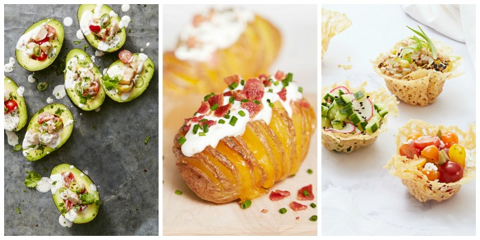 potato baked and garnished with white sauce, chives and bacon bits, stuffed avocados, and crispy tartlets with vegetables