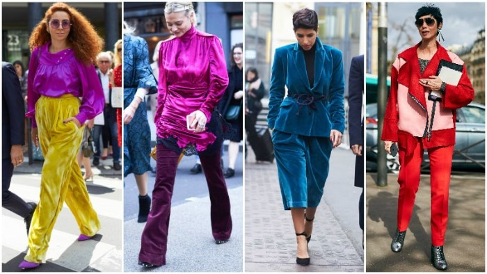 purple and yellow, teal and red outfits, inspired by the 80s, baggy shiny trousers, oversized suits and jackets, worn by four different women
