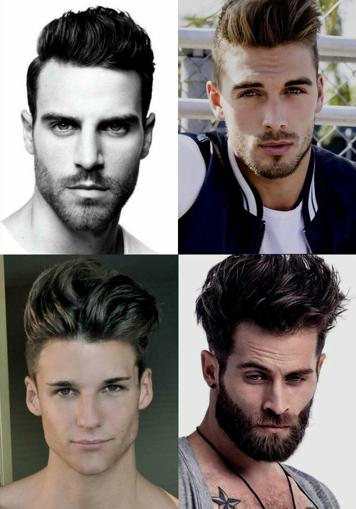 four examples of short sides long top haircut, worn by different men, some bearded and some shaven, quiff style hair