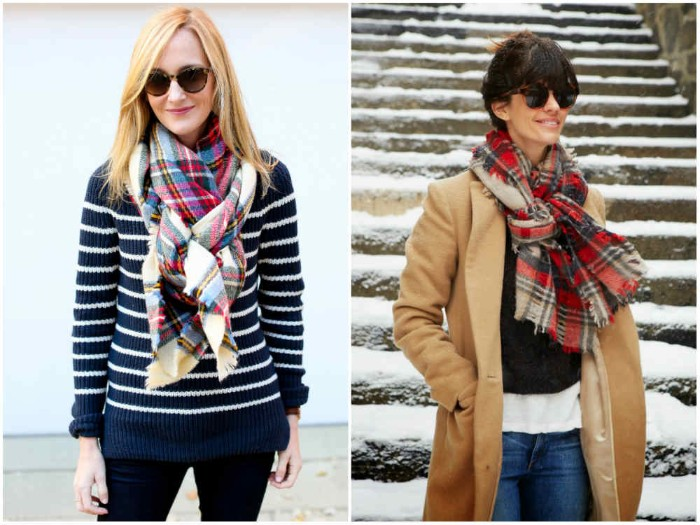 casual outfits with jeans, how to wrap a blanket scarf, demonstrated by two women, with tartan scarves, one wearing a jumper, the other a camel-colored coat