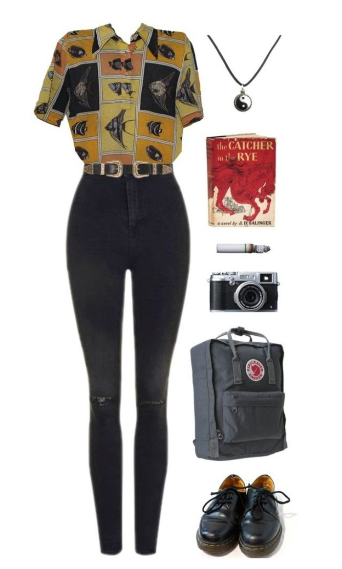 fish-patterned short sleeved shirt, in yellow and orange, balck and grey, dark grey distressed skinny jeans with a belt, kahki backpack and black leather, lace up shoes, other items and accessories