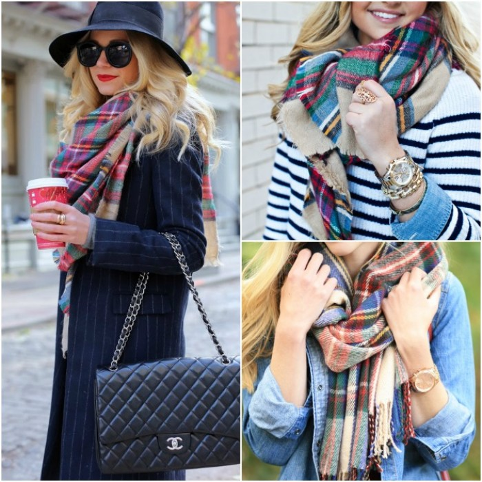 chanel black leather bag, worn by a blonde woman, with a long pinstripe blazer, a black felt hat, and a plaid scarf around her neck, blanket shawl ideas, two other images show casual ways of wearing a scarf