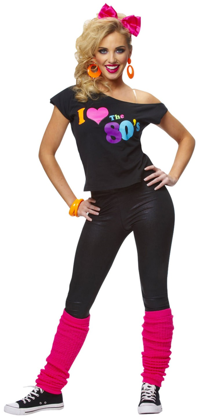 hot pink leg-warmers, worn over leather-like black leggings, and an off-the-shoulder black top, with a colorful print, 80s halloween costumes, large orange earrigns, and a pink hair bow