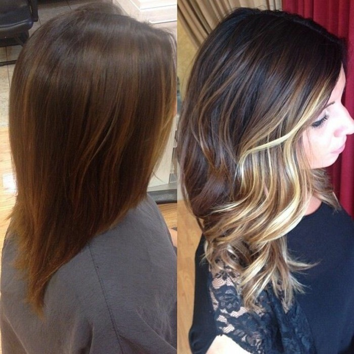 glossy shoulder length hair, brunette with caramel highlights, next image shows a woman, with balayage hair, in dark brown and light blonde