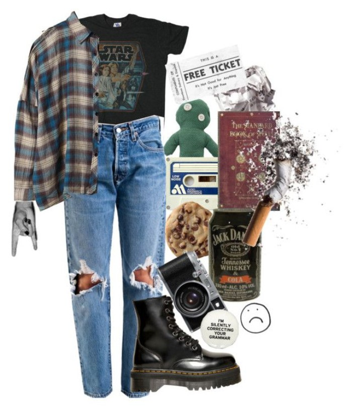 ripped jeans and a vintage, star wars t-shirt, a flannel shirt and black doc martens, 80s outfits guys or girls, camera and other items