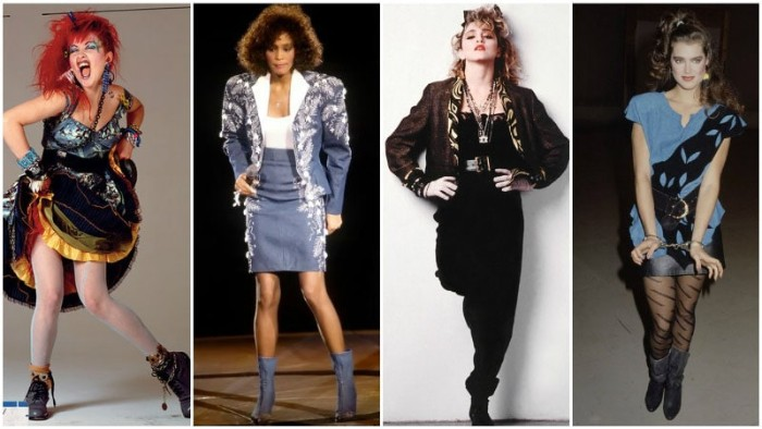 icons from the 80s, cyndi lauper and whitney houston, madonna and brooke shields, dressed in vintage clothing, 80s halloween costumes, inspired by stars