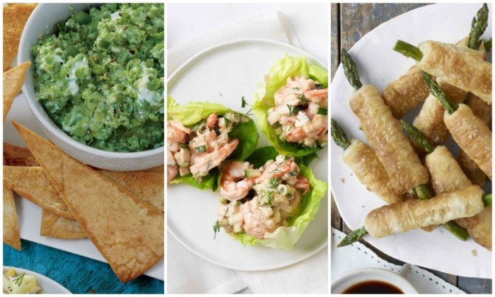 pitta bread with green dip, lettuce leaves stuffed with prawns, and asparagus wrapped in pastry