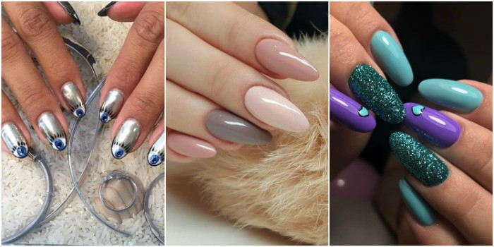 collage with three examples of almond nail designs, metallic silver manicure with eye motifs, turquoise and violet nails with glitter, manicure in pastel colors