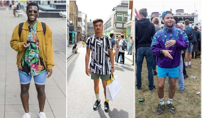 mustard yellow jacket, over denim shorts, and a multicolored patterned shirt, black and white t-shirt, and khaki shorts, and a blue jacket with light blue shorts, 80s costumes men, on three guys