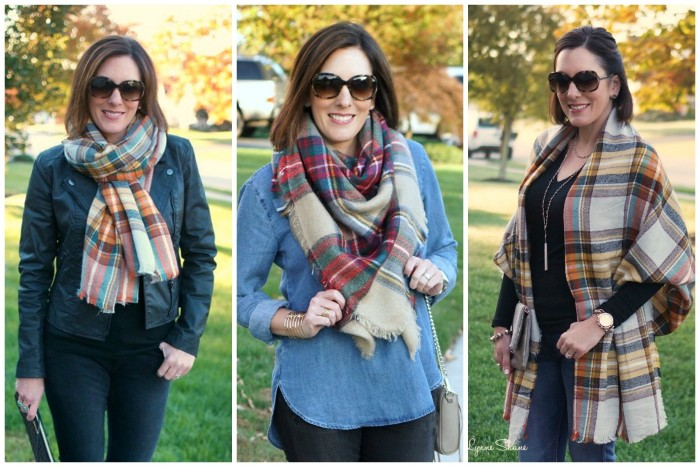 photos of three ways, in which you can style and oversized scarf, demonstrated by a brunette woman, wearinf different outfits, how to wrap a blanket scarf, fall scenery in the background