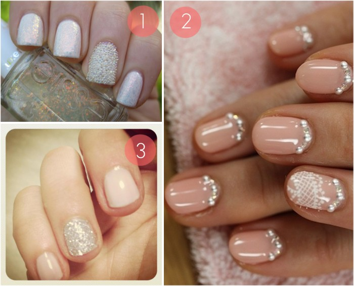 examples of nude nails with glitter, and gem decal stones, fine and textured silver glitter, iridescent and nude nail polish