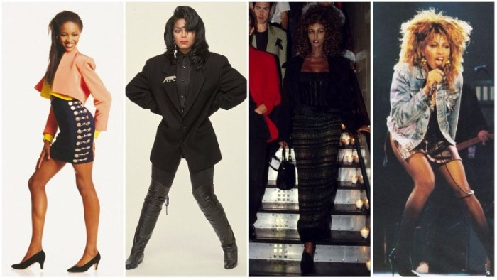 80's dress up ideas, inspired by vintage black celebrities, janet jackson and tina turner, and others, over-the-knee black leather boots, oversized blazers and short skirts, denim jackets and maxi skirts
