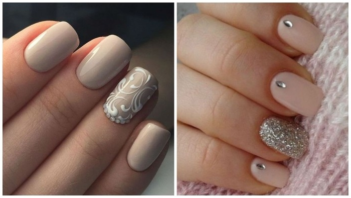 examples of nude nail designs, one featuring hand-painted white swirls, the other decorated with silver glitter, and silver gem stickers
