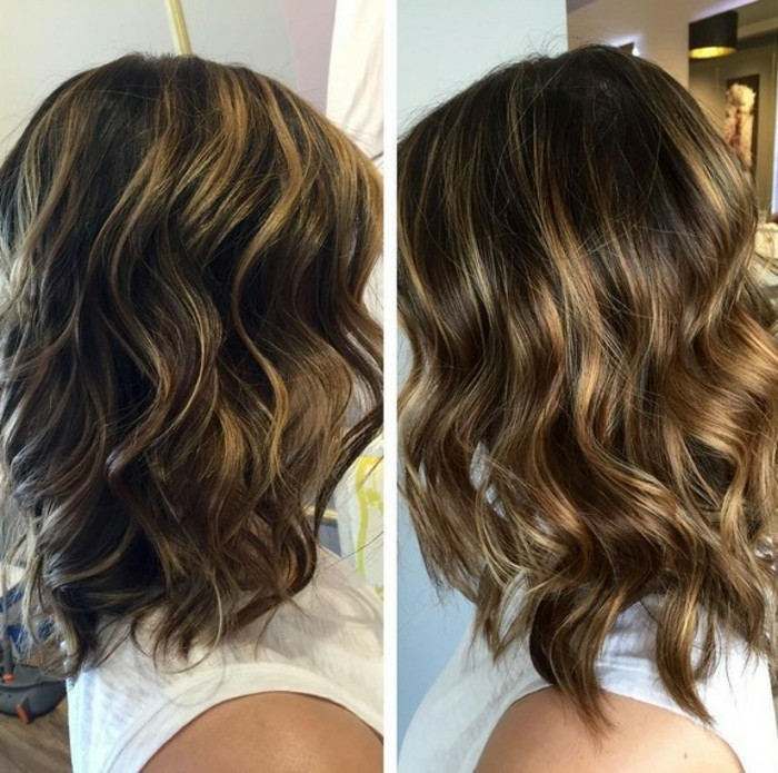 images showing the difference, between brown hair with blonde highlights, and brunette hair, with dark blonde balayage