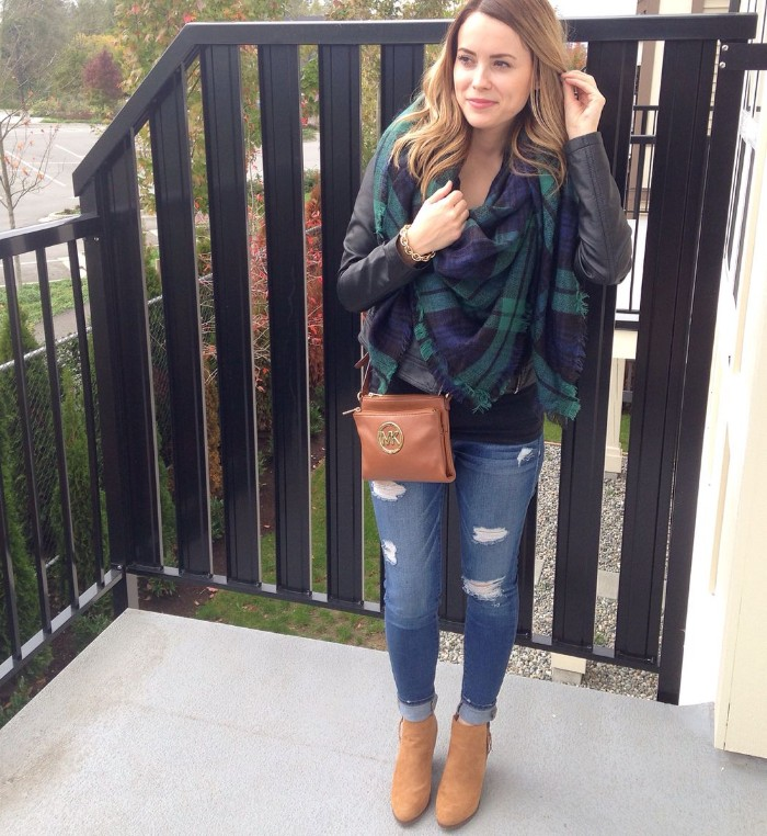 distressed skinny jeans, worn with beige suede ankle boots, black jumper and a black leather jacket, by smiling young woman, with a dark blue and green shawl, scarf outfits