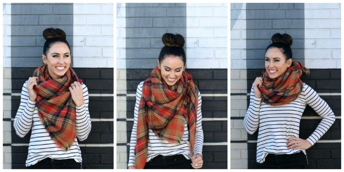 strped white jumper, worn by a smiling brunette woman, with a top knot, demonstrating ways of wrapping a plaid oversized scarf, in three images