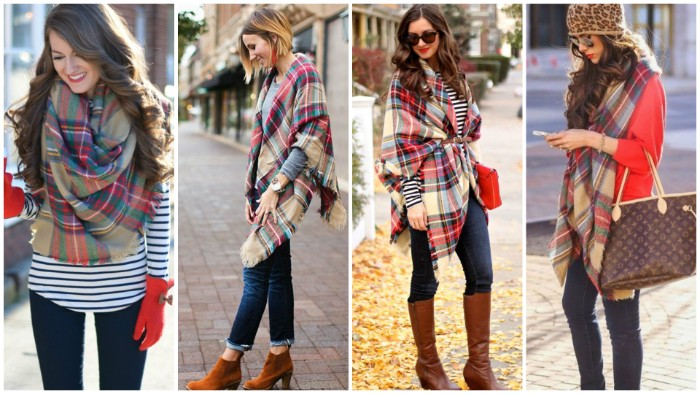 examples of scarf outfits, demonstrated by four slim, young brunette women, wearing jeans and striped jumpers