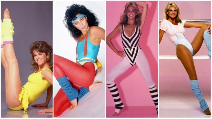 spandex working out clothes, red and pink leggings, yellow and blue legwarmers, bodysuits and headbands, 80s halloween costumes, inspired by cher and other celebrities