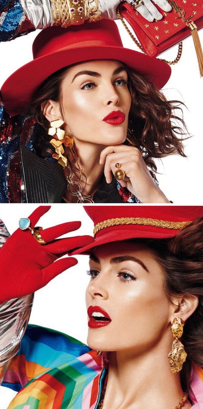 colorful clothes and accessories, in 80s and 90s style, worn by a brunette woman, with red lipstick, and black mascara