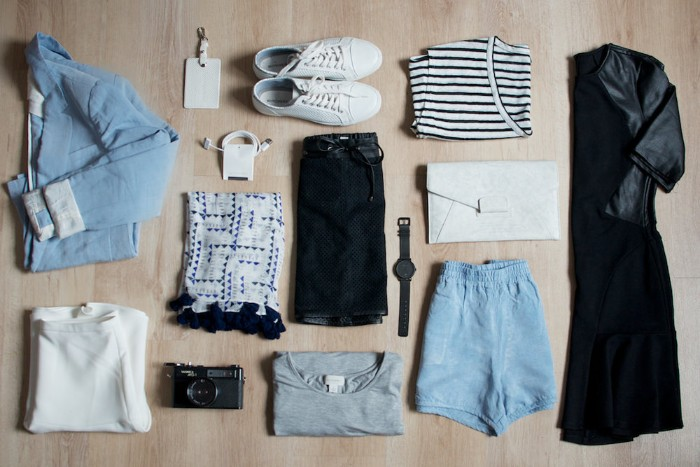 wardrobe essentials, little black dress, striped t-shirt, pale blue denim jacket, shorts and white sneakers, various other items