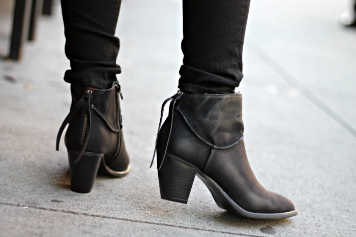 zip detail on black, leather ankle boots, with small heels, what is a capsule wardrobe, essential shoes for winter