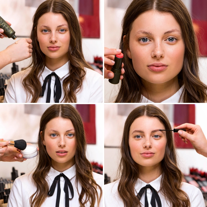 tutorial with photos, showing how to apply christmas makeup, artist putting foundation and blush, powder and eyebrow fix, on a young brunette woman